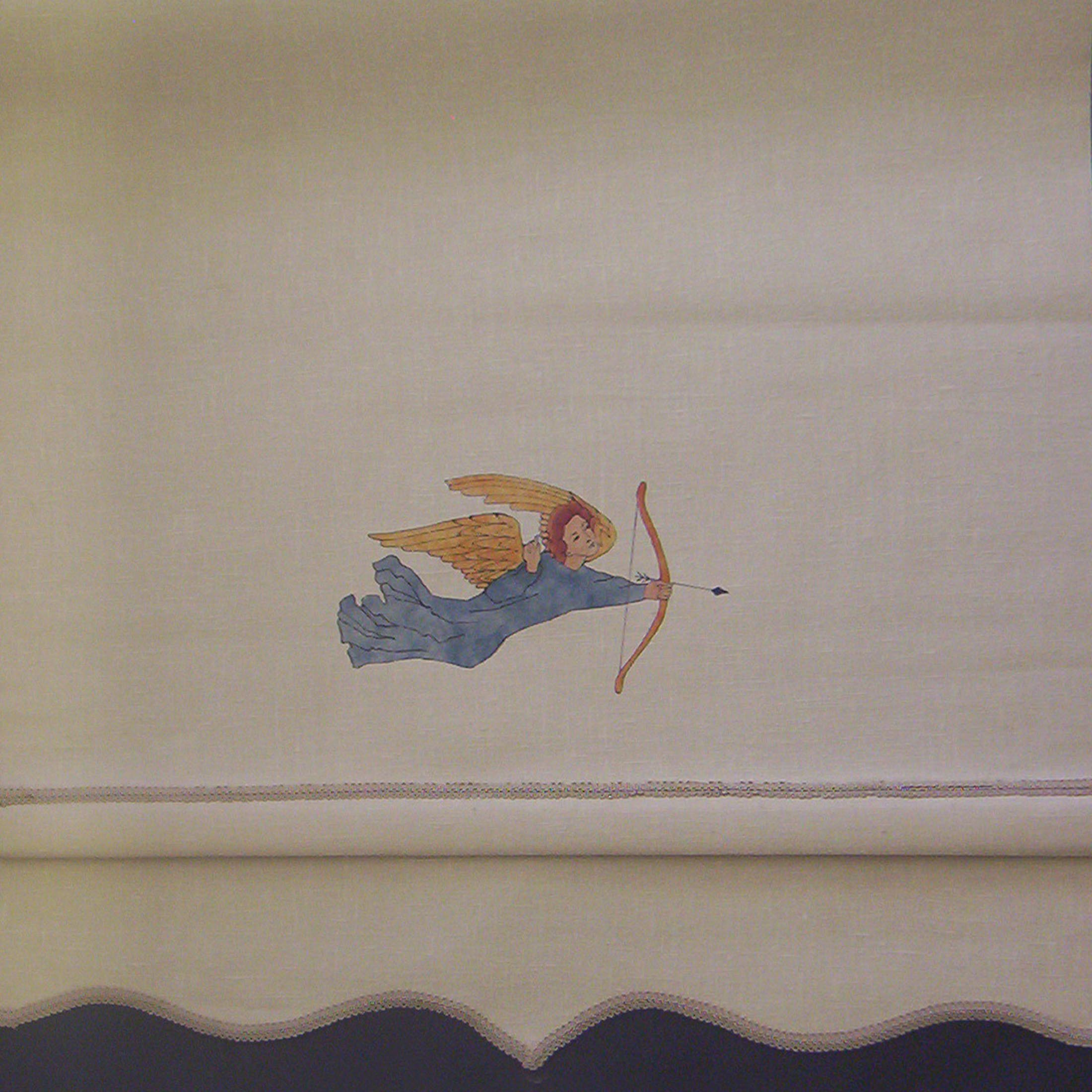 A hand painted angel from the Voysey Angel Forest pattern on a roller shade. We also adapted some of the wallpaper foliage as a stencil pattern for the over drapes.