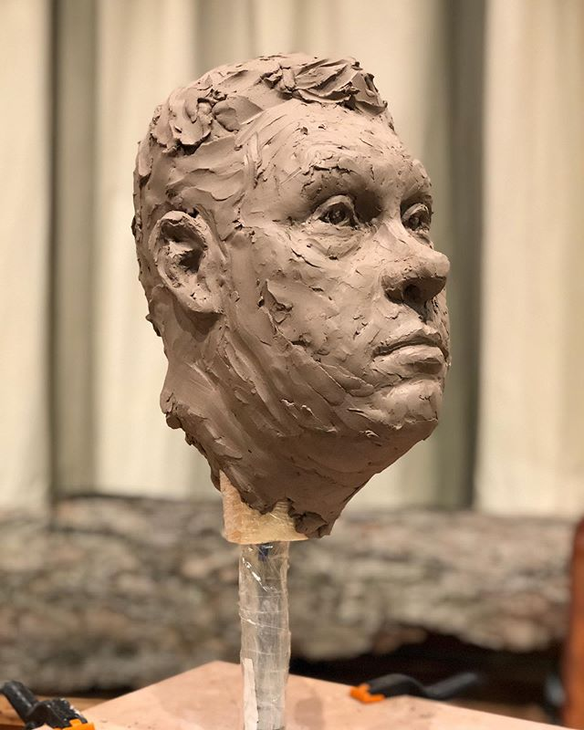 Excited to sculpt at @manifestdrawingcenter ! Life size-ish portrait in about 4 hours, over two sessions. - - #manifestdrawingcenter #lifedrawing #sculpture #sculpting #portrait #clay