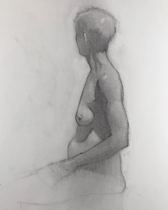 From tonight @manifestdrawingcenter 90 minutes, graphite on Strathmore. - - #lifedrawing #figuredrawing #manifestdrawingcenter