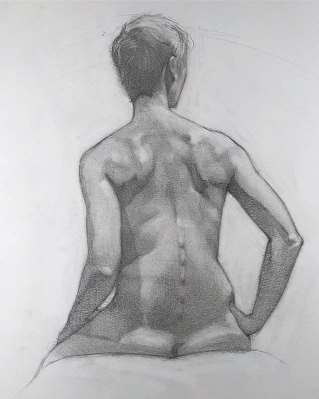 @manifestdrawingcenter 2 hours, graphite on 14x17 Strathmore. - - #lifedrawing #openfigure #manifestdrawingcenter