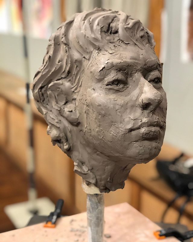 2 hour portrait at @manifestdrawingcenter tonight... wish I could've sculpted more of her hair but ran out of clay! - - #manifestdrawingcenter #sculpture #portraitsculpture #sketch #study