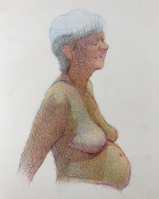 Little colored pencil on 6x8 hotpress watercolor paper tonight at @manifestdrawingcenter - - #lifedrawing #prismacolor #coloredpencil