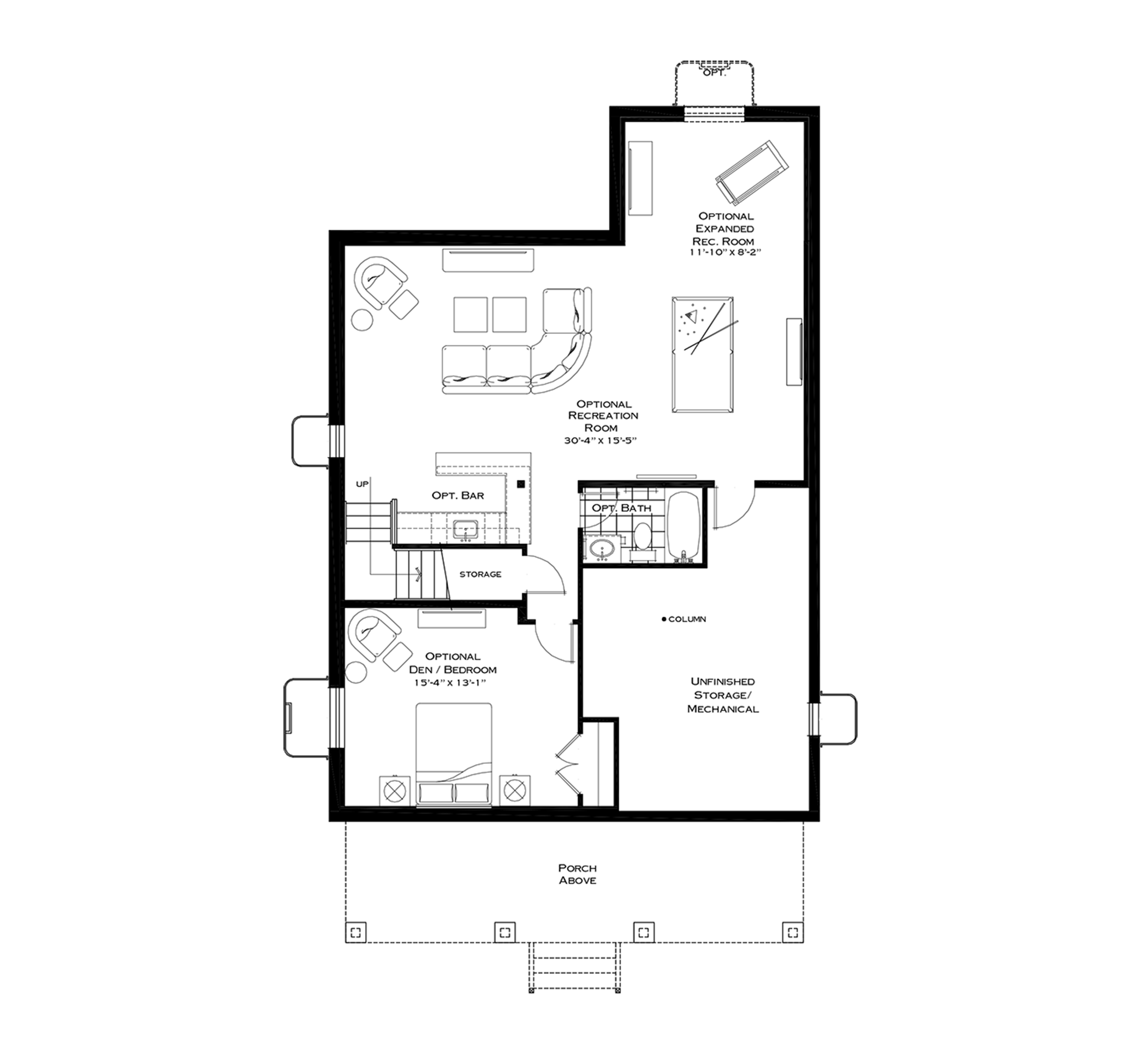 Optional Finished Basement with First Floor Breakfast Nook