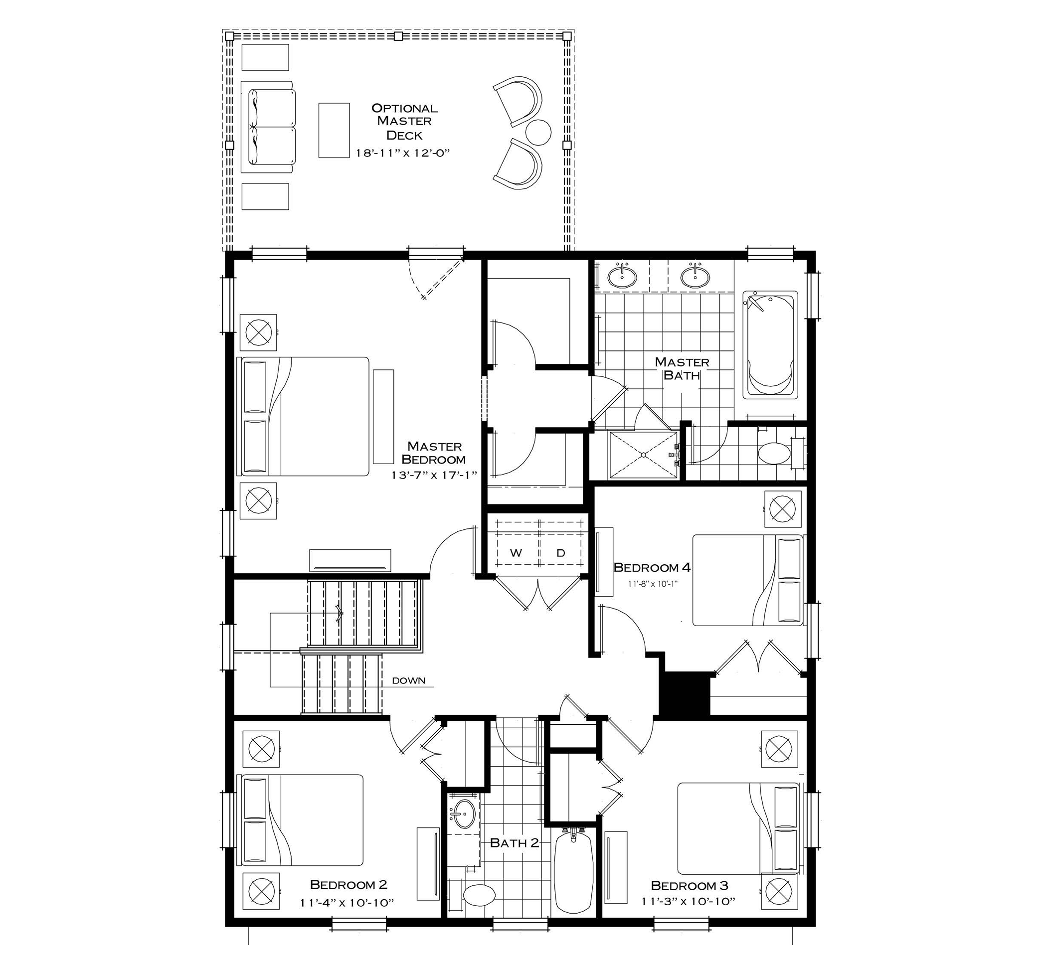 Second Floor with Optional Added Bedroom