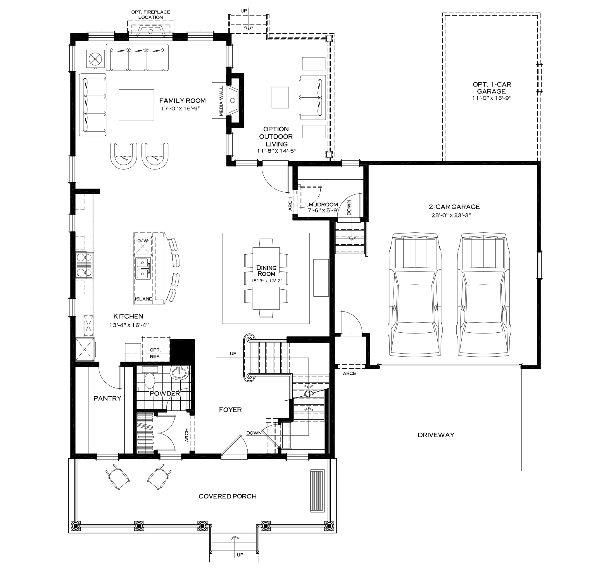 First Floor with Optional Mudroom and Extended Garage