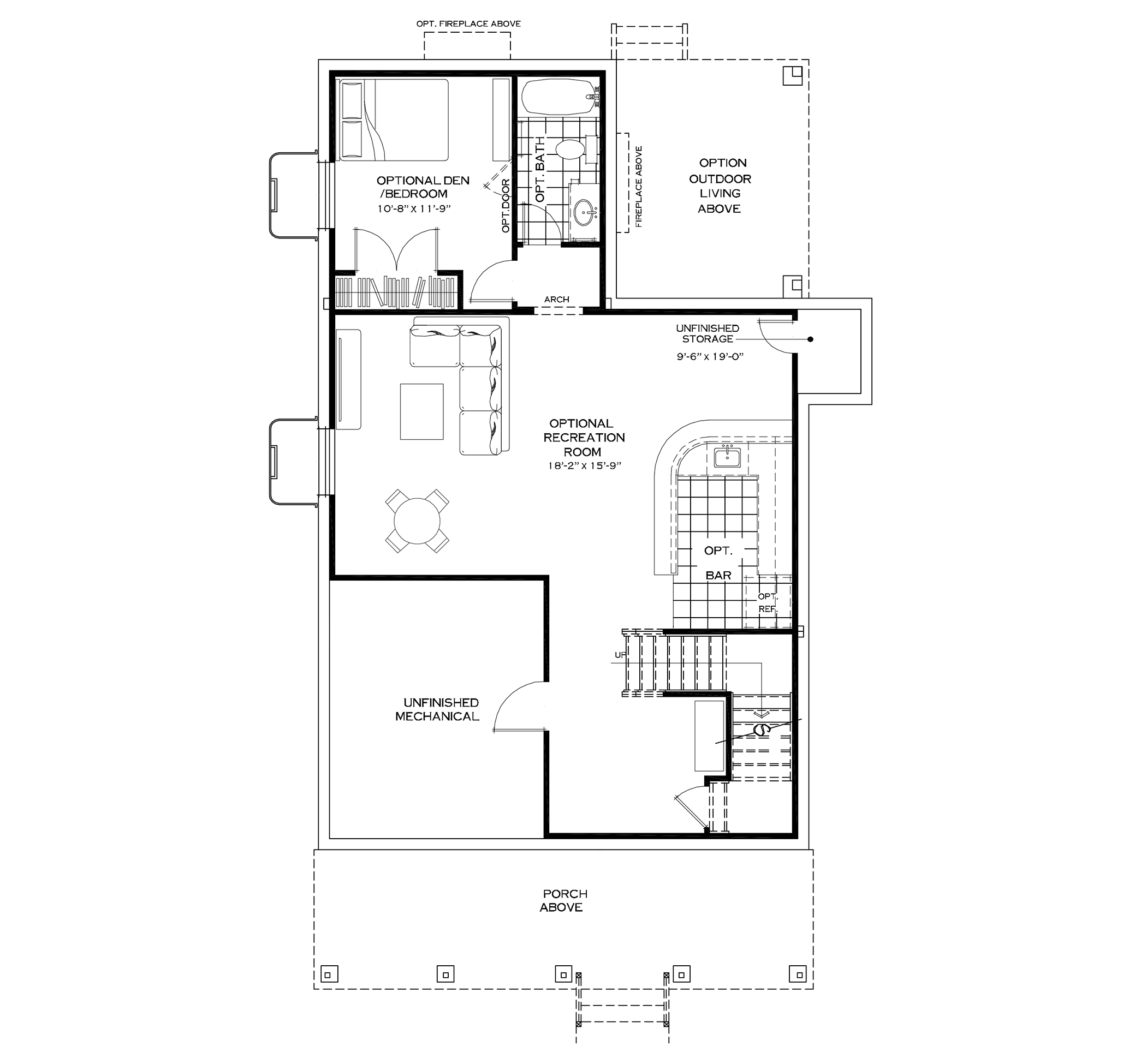 Optional Finished Basement with Mudroom and Extended Garage on First Floor