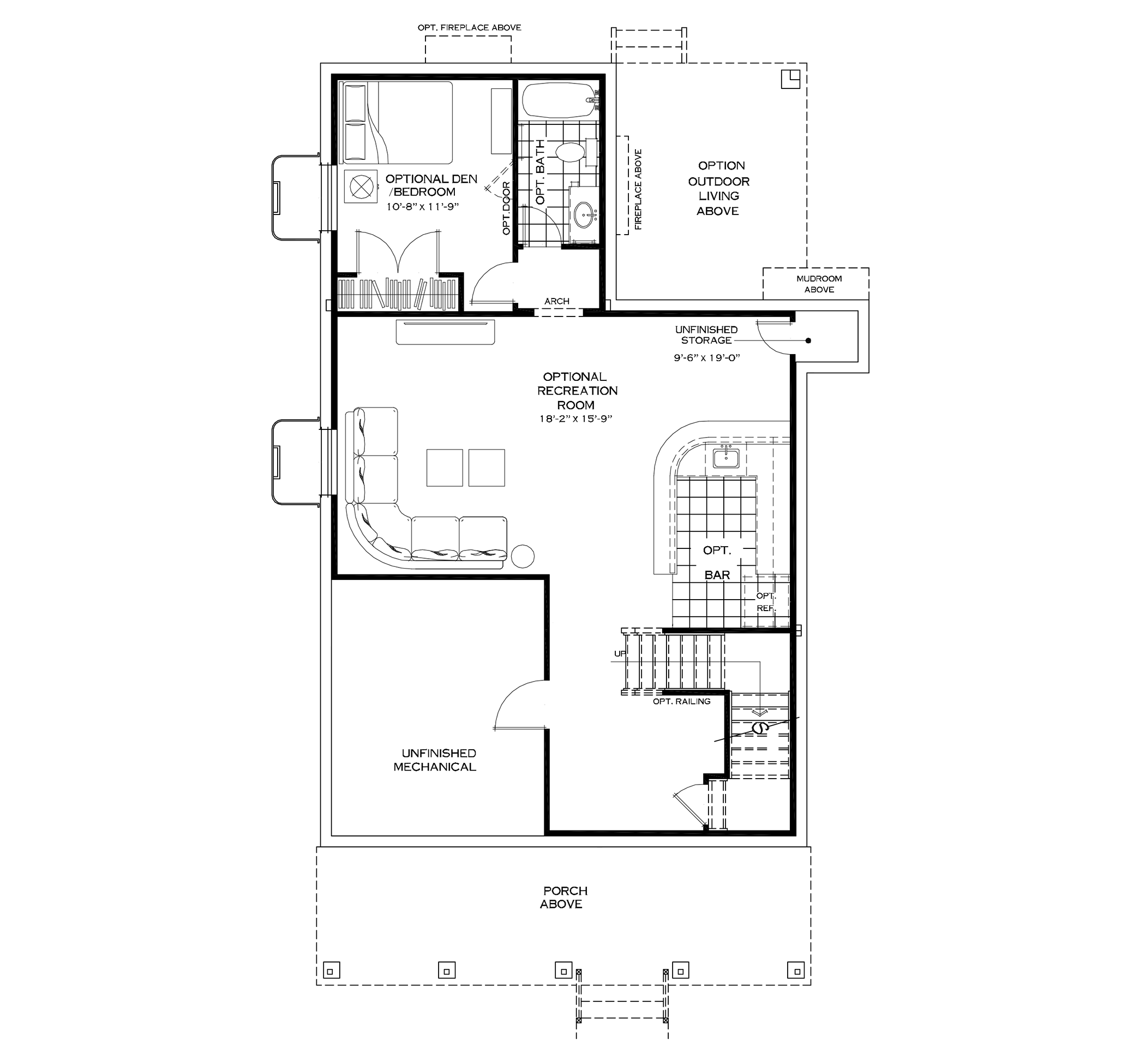 Optional Finished Basement with Mudroom on First Floor