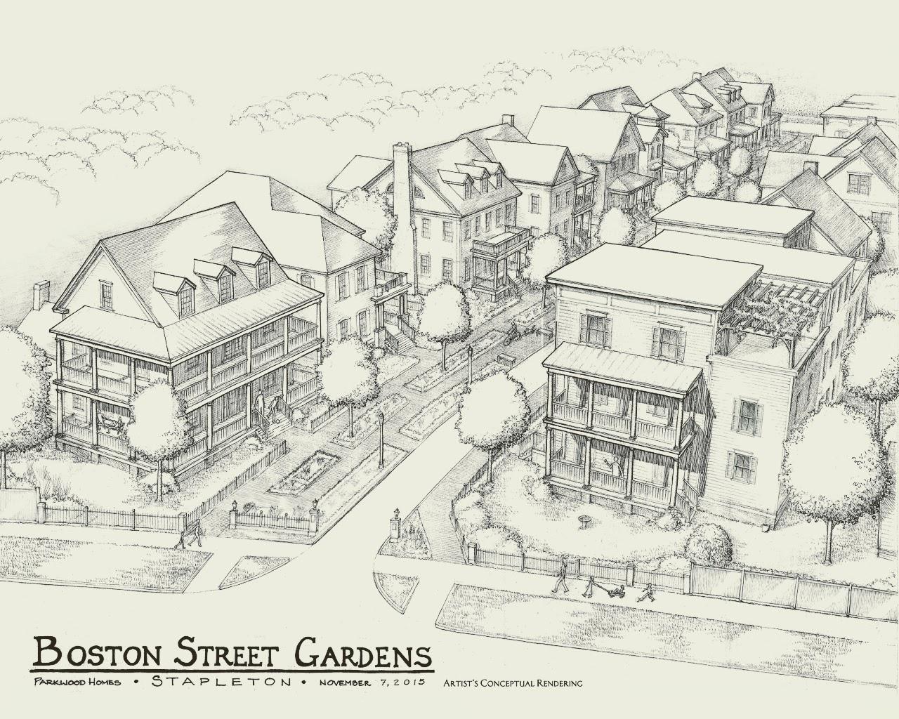 Daniel's original sketch of Boston Street in Wicker Park.