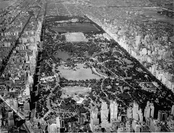 Aerial shot of Central Park in New York City, 1938.   Source