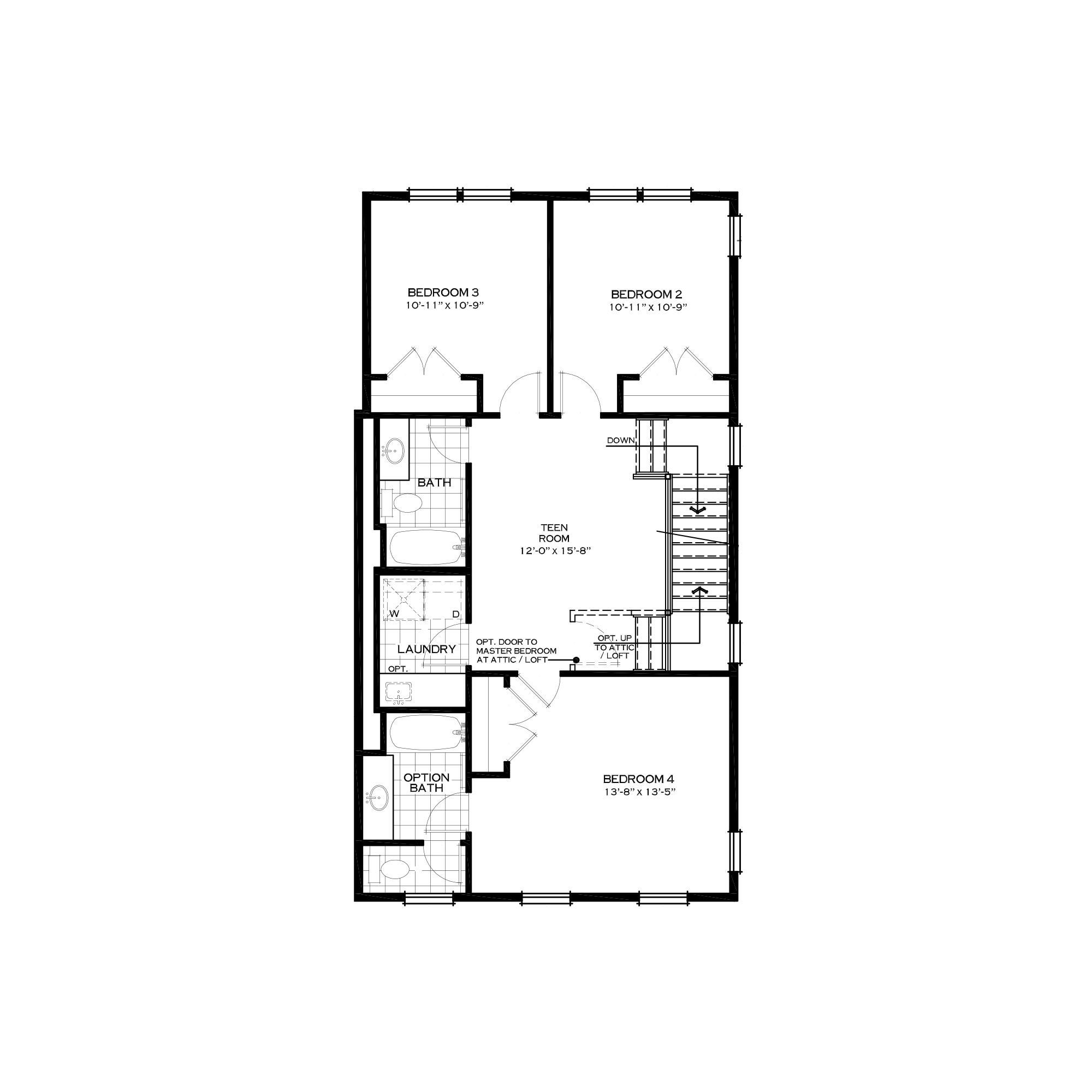 Optional Third Floor with Three Bedrooms