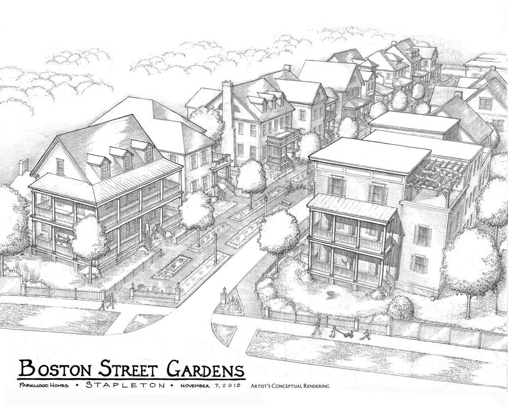 Boston Street Gardens Drawing