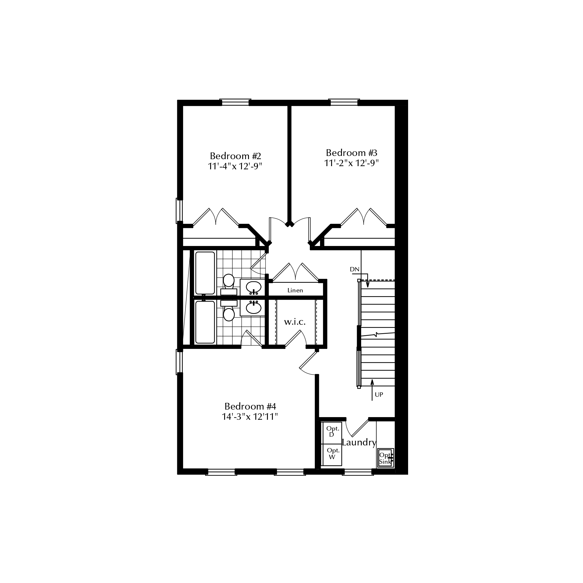 Second Floor with Two Bathrooms and Third Floor Master
