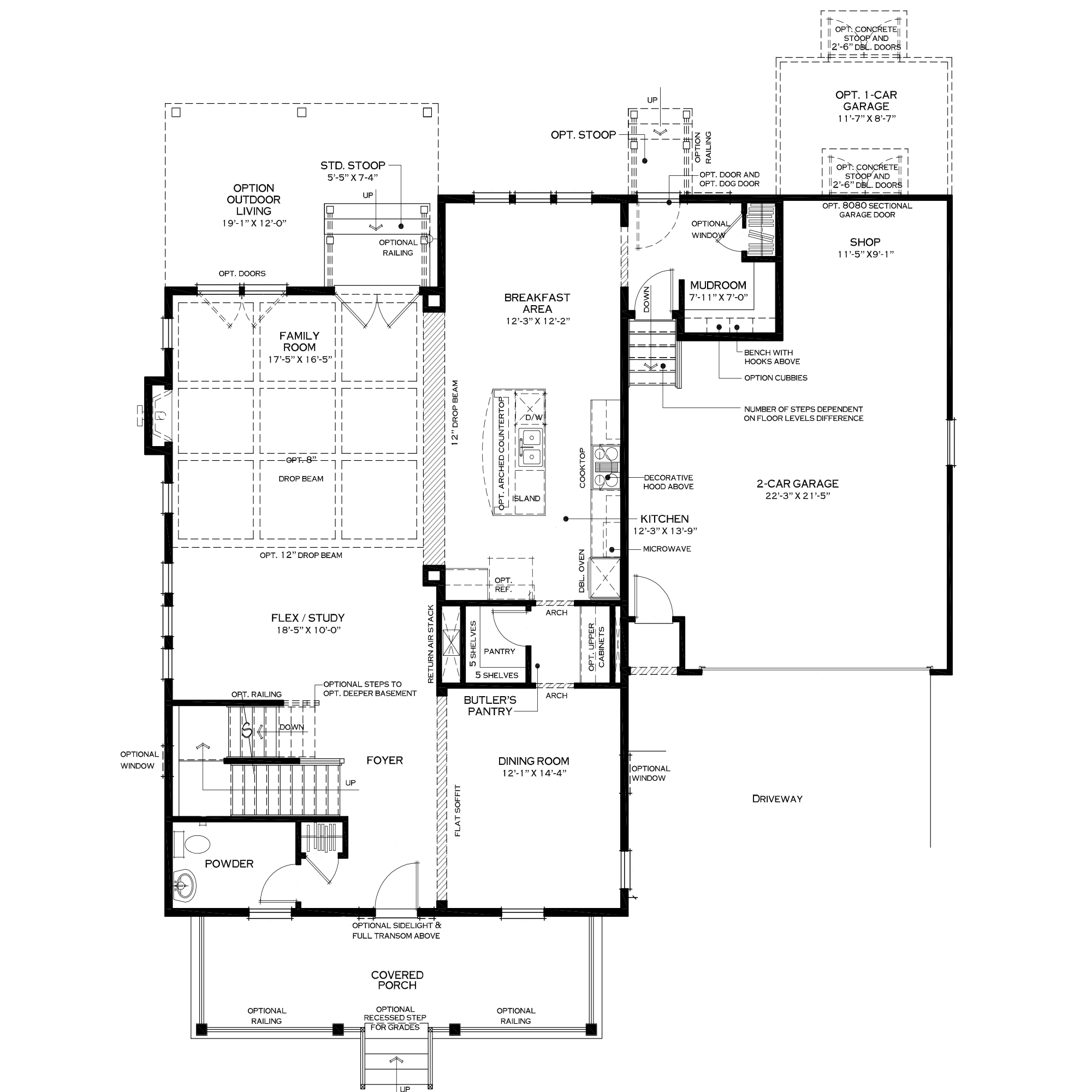 First Floor with Extended Mudroom Option