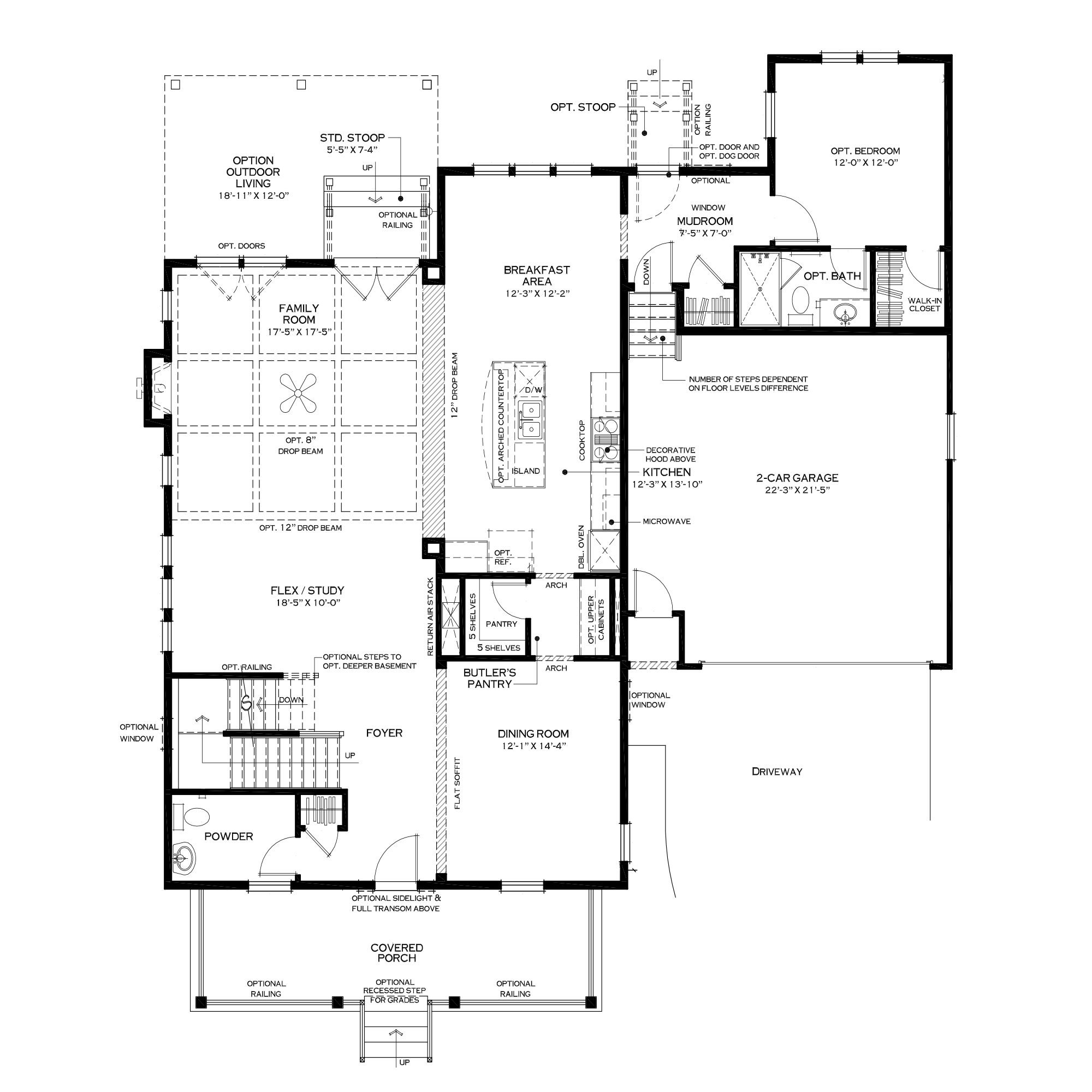 First Floor with Rear Bedroom Suite Option