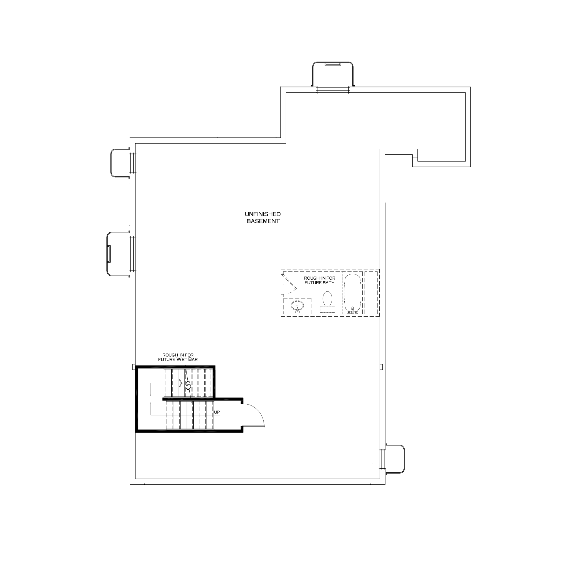 Standard Unfinished Basement with Small Mudroom Above