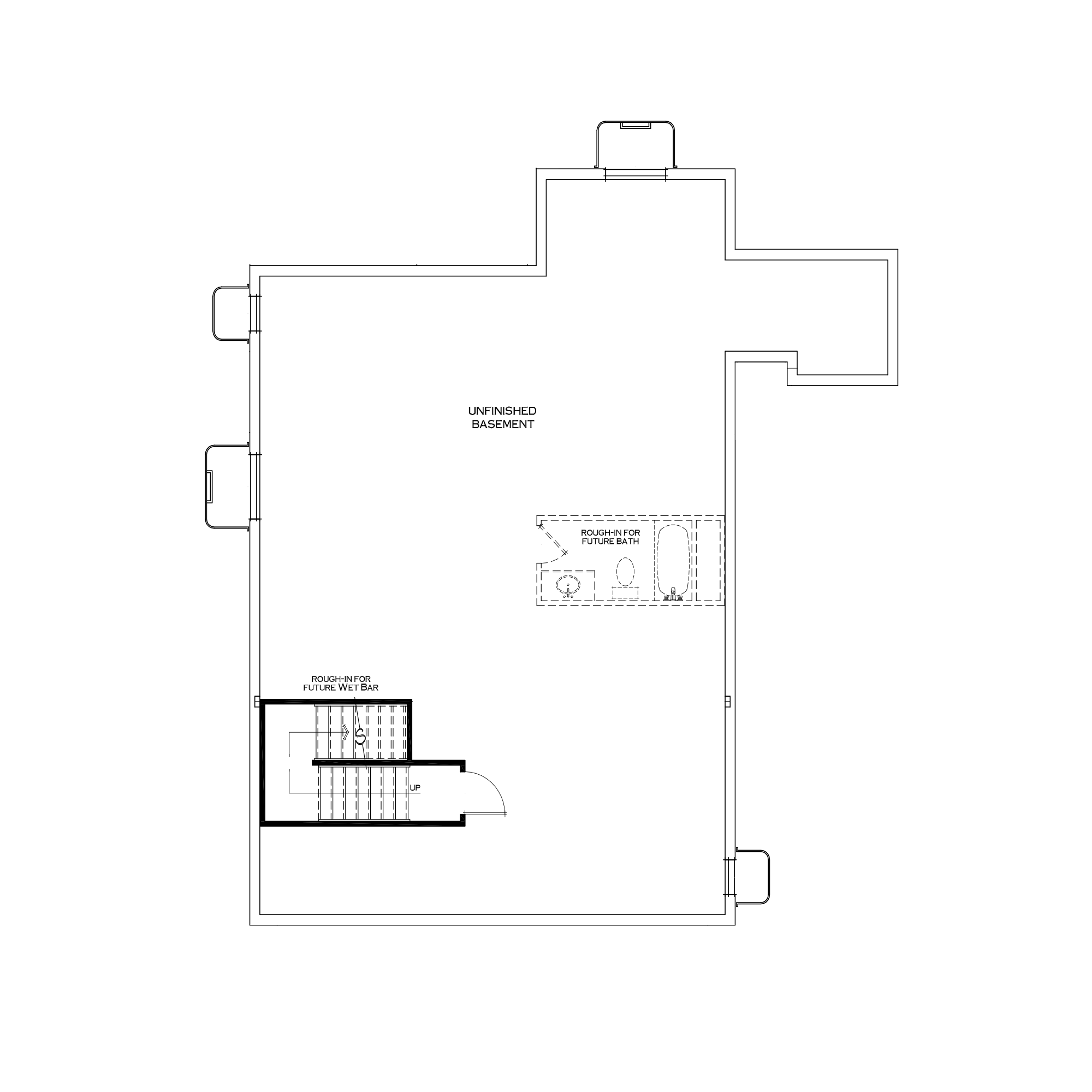 Standard Unfinished Basement with Extended Mudroom Above