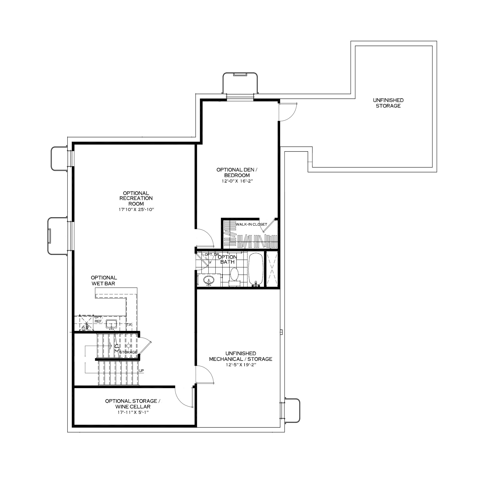 Optional Finished Basement with Rear Bedroom Above