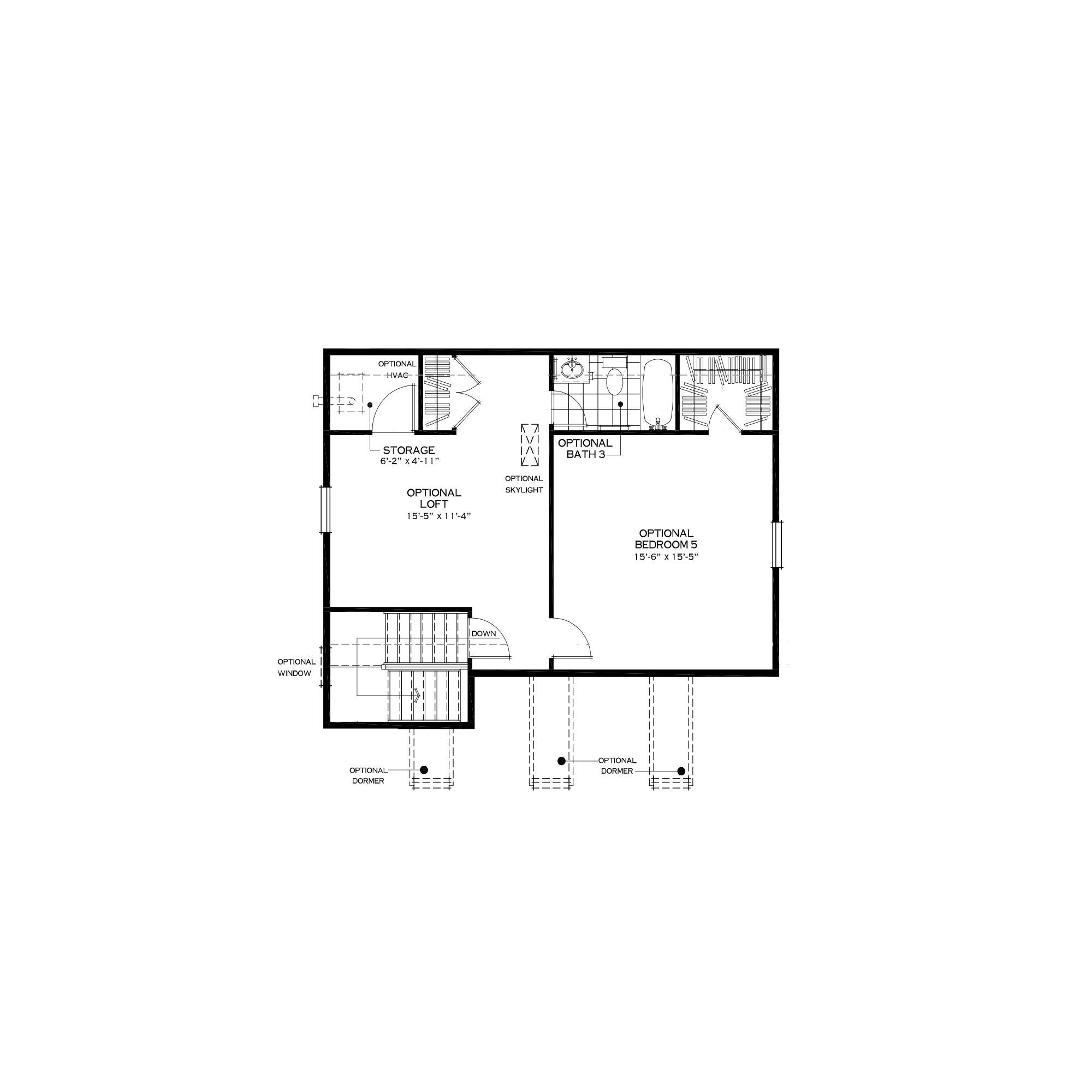 Optional Third Floor Loft with Bedroom Suite
