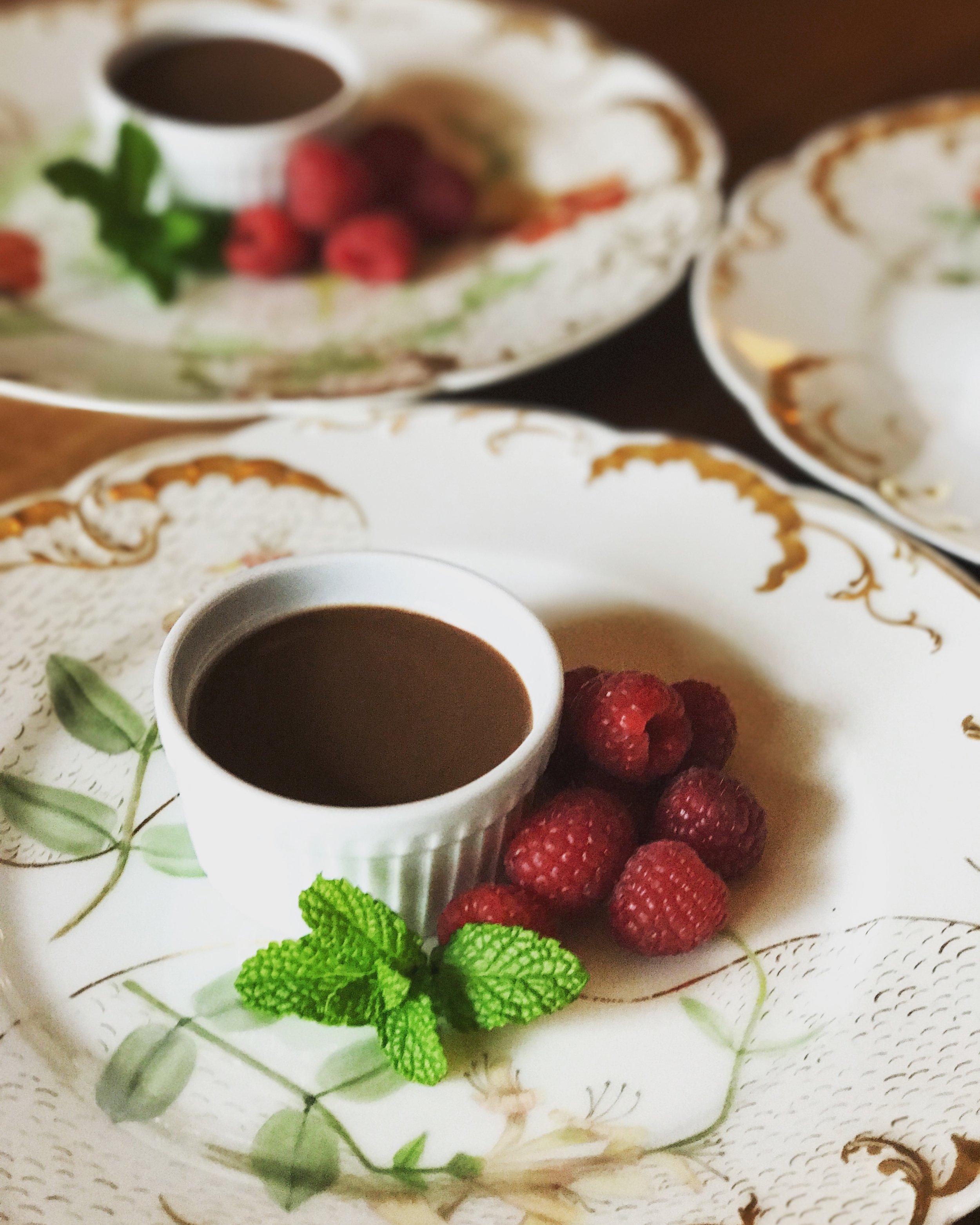 Pots de Crème made with Cacao, Coconut Milk and Honey