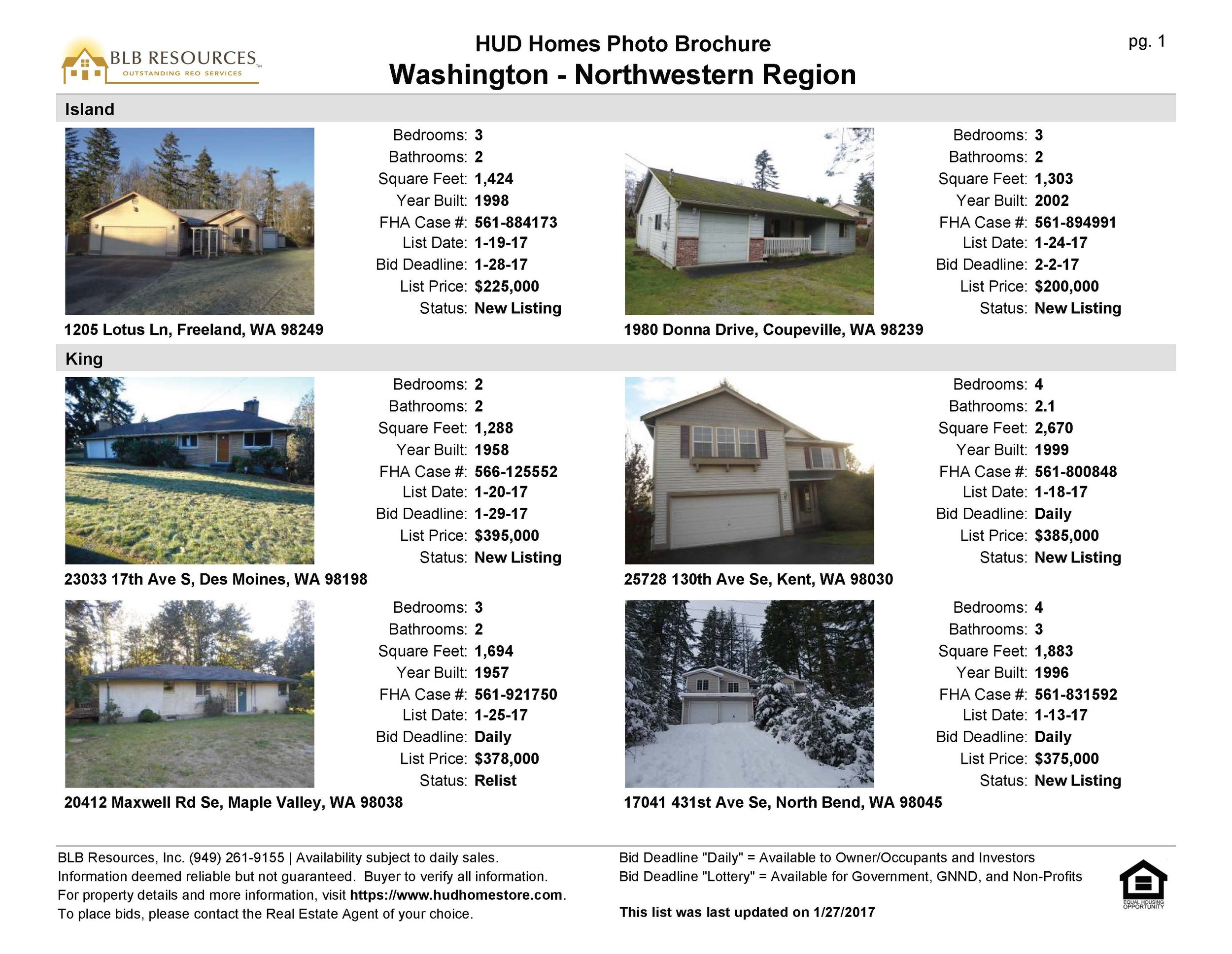 Sample: HUD Photo List Brochure