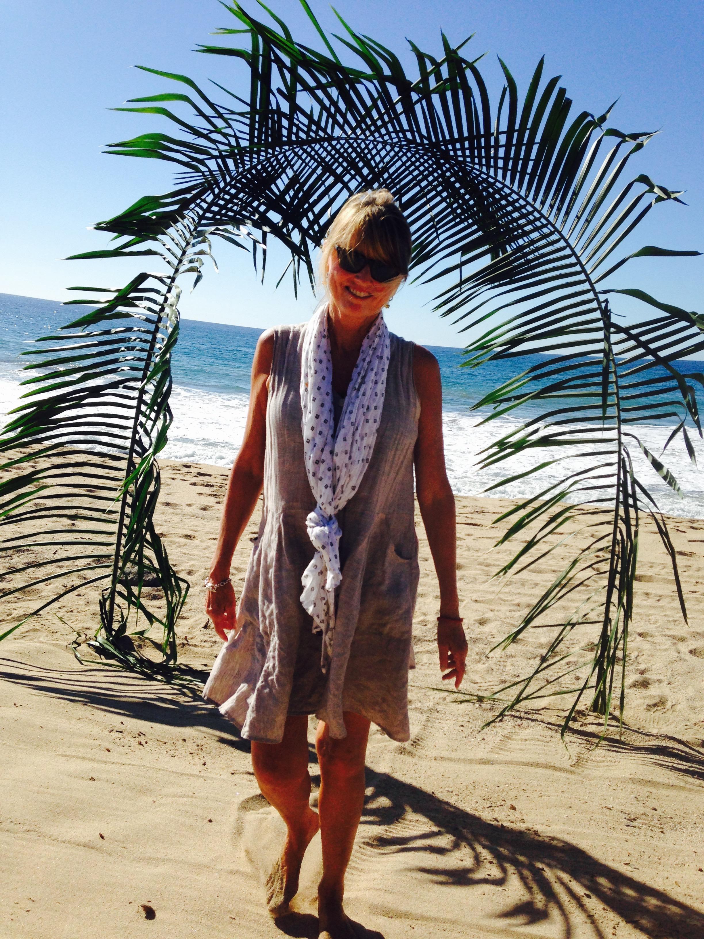 Kim on the beach in San Pancho