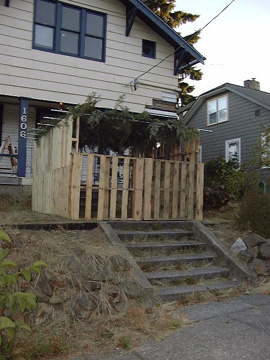 Photo of sukkah from the street side