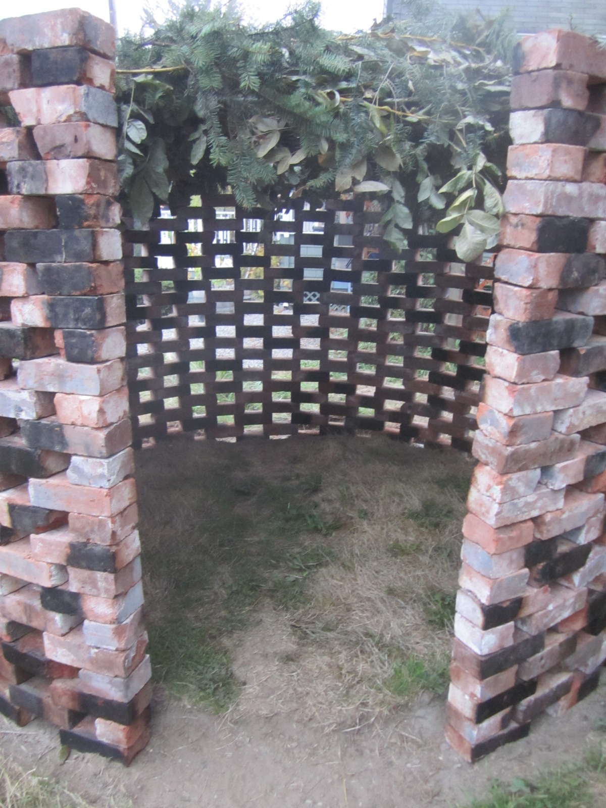 Doorway formed by half bricks