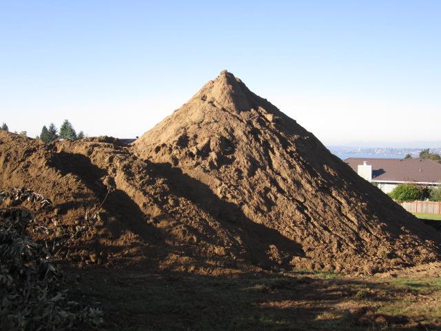 dirt from excavating rain garden