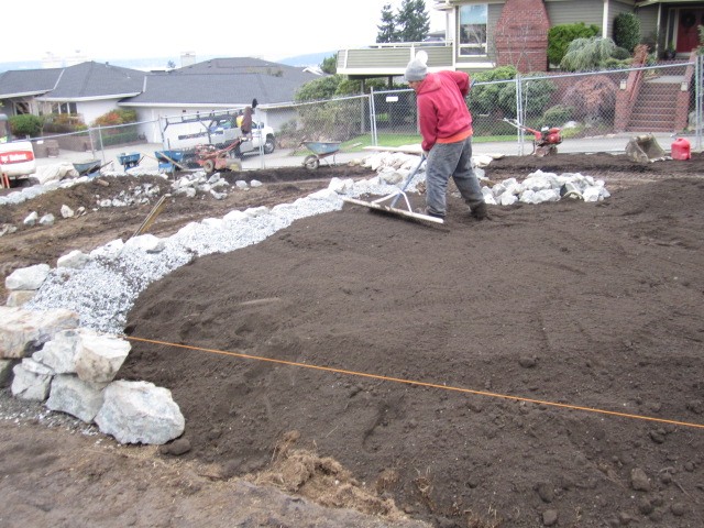 installing compost and top dressing