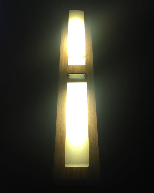 New light complete! Simple walnut LED table or wall hanger with touch dimmer.