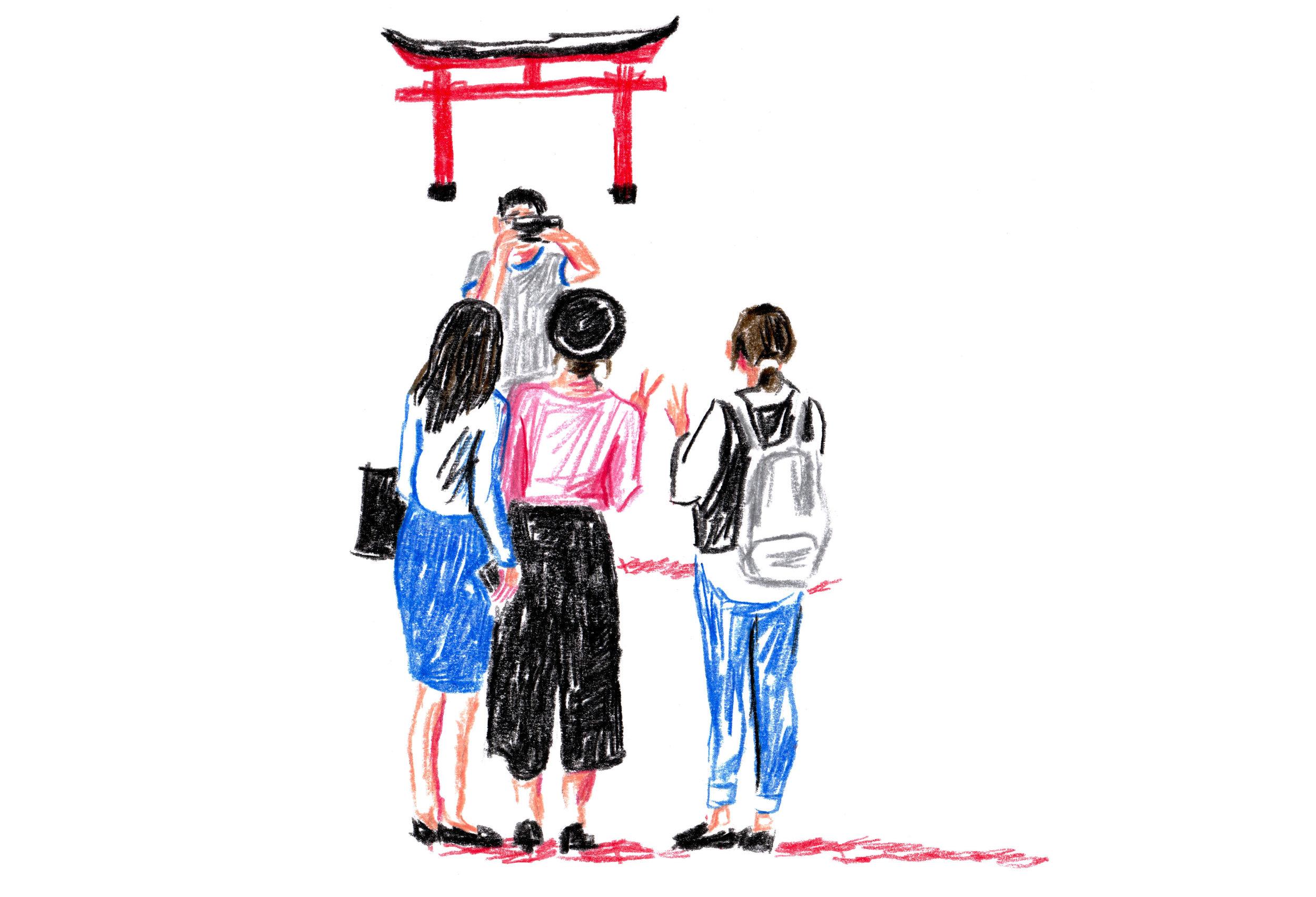 Tourists at Fushimi-Inari, Japan.