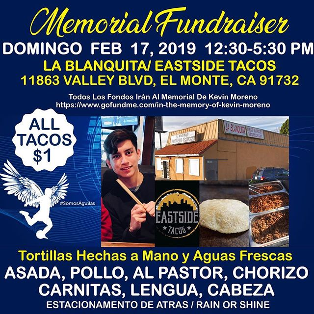 We are holding a pop up event to help fundraise for a memorial service. If your around the area, love tacos, and would like to support Kevin Moreno and his family, please stop by.  #food #foodie #foodporn #foodgasm #nom #nomnom #hungry #instafood #taco #tacos #mexicanfood #boyleheights #eastlosangeles #eastla #catering #tortillas #eastsidetacos #discoverLA #tacolife