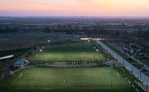Full-size lighted turf fields at OC Great Park