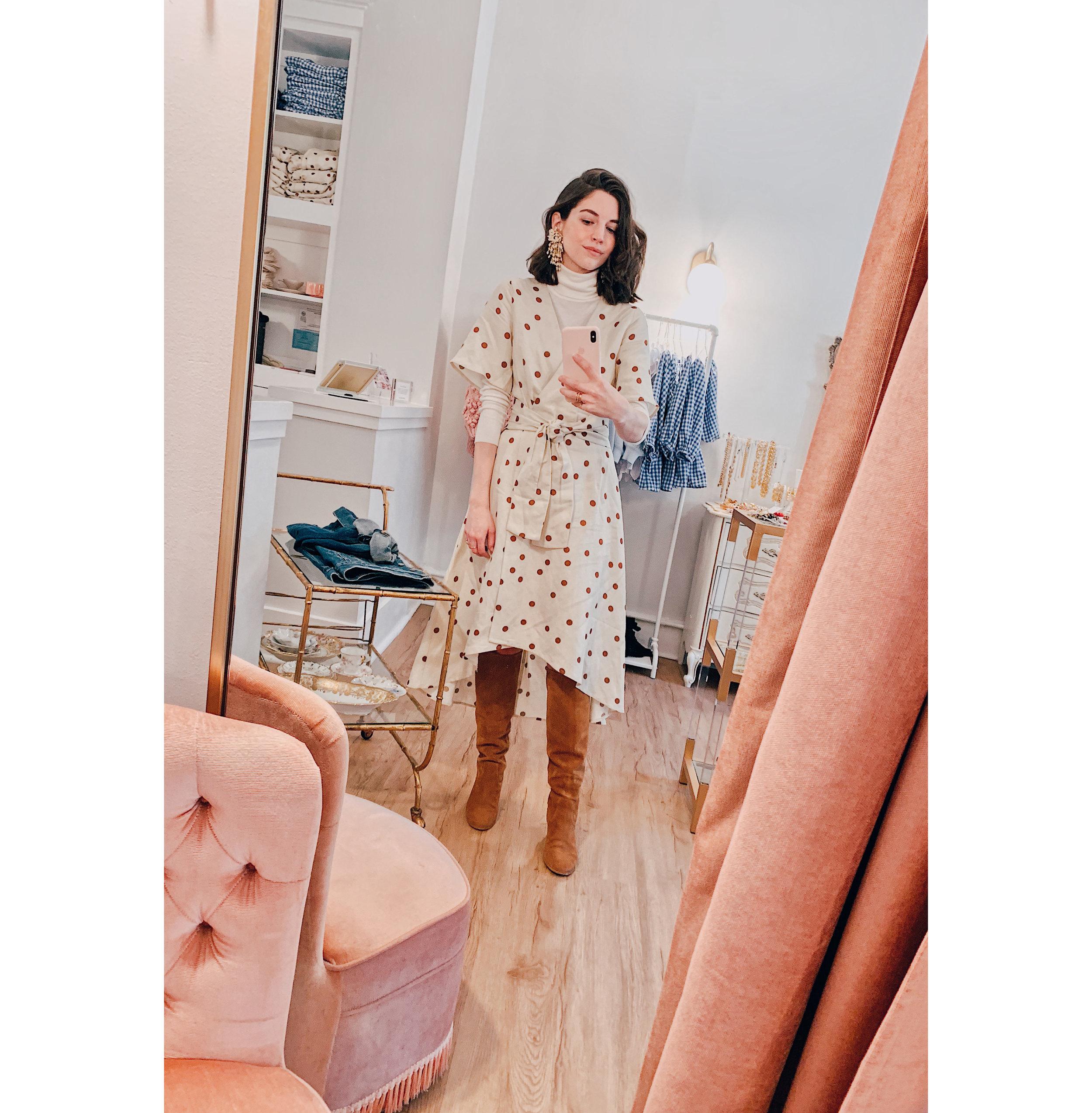 Polka Dot Wrap Dress Selfie.jpg