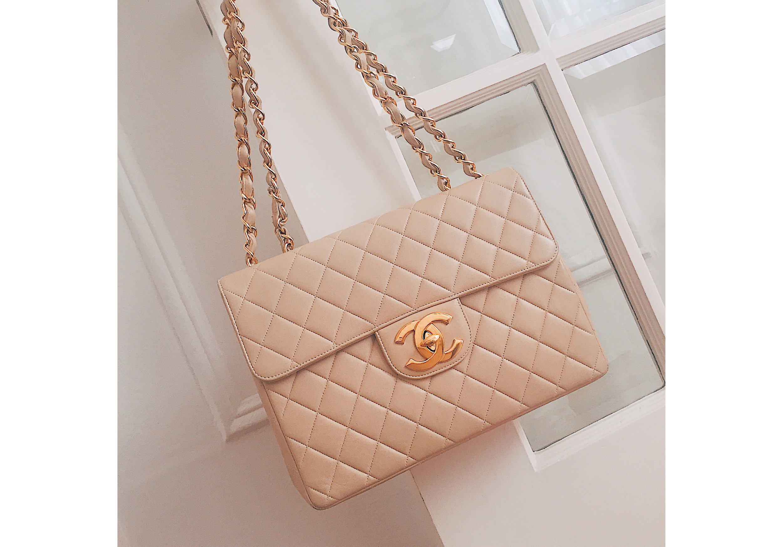 Vintage Nude Chanel Jumbo Bag.jpg