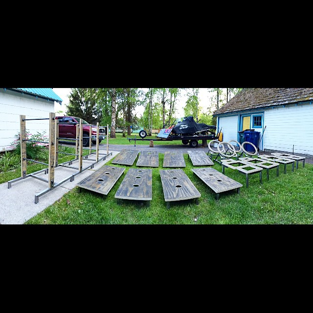 That's right... The Leisure Games just hand built a couple BEAUTIFUL sets of games and will now be renting to YOU for your next shindig! #leisurewolfstrikesagain #weddingseason #kickyourheelsupandshout #beerinonehand #beanbagintheother TheLeisureGames.com