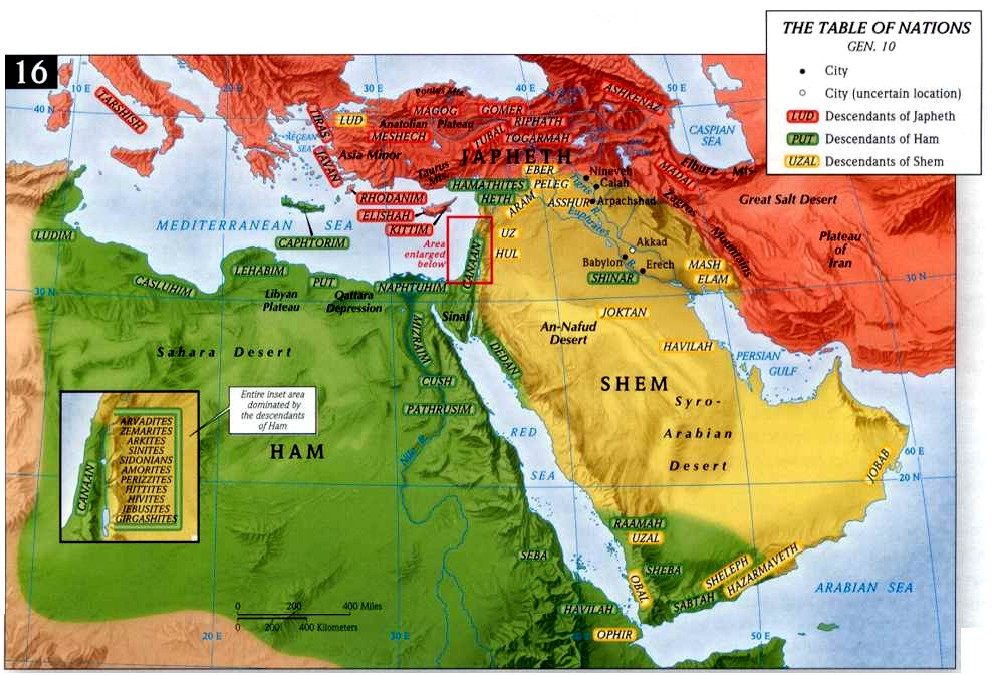 The Table of Nations - the settlement of the sons of Noah