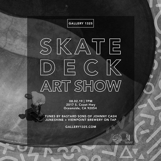 Next Saturday (August 2nd) at @gallery1325 I'll be contributing a painted deck for the Skat Deck Art Show along with 50 other artists! Roll on through around 7pm. 👽👾👽👾👽👾