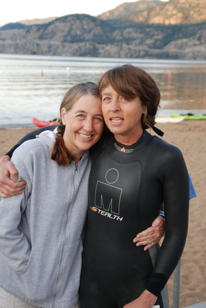 My mother with her sister at the start of ULTRA520K Canada; she was one of only nine finishers in 2008.