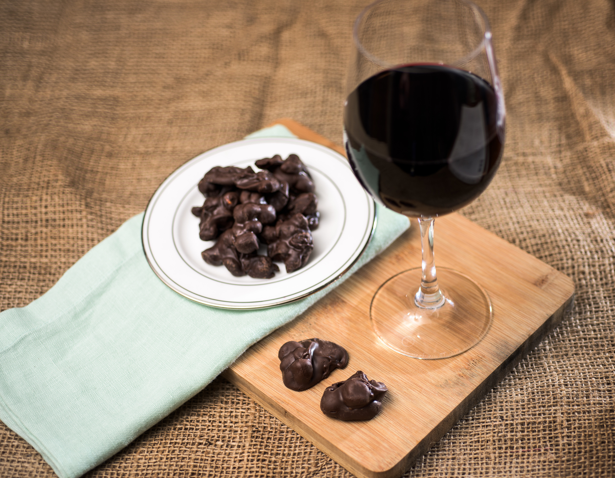 Our Soo Good Chocolate Clusters paired with Red Wine