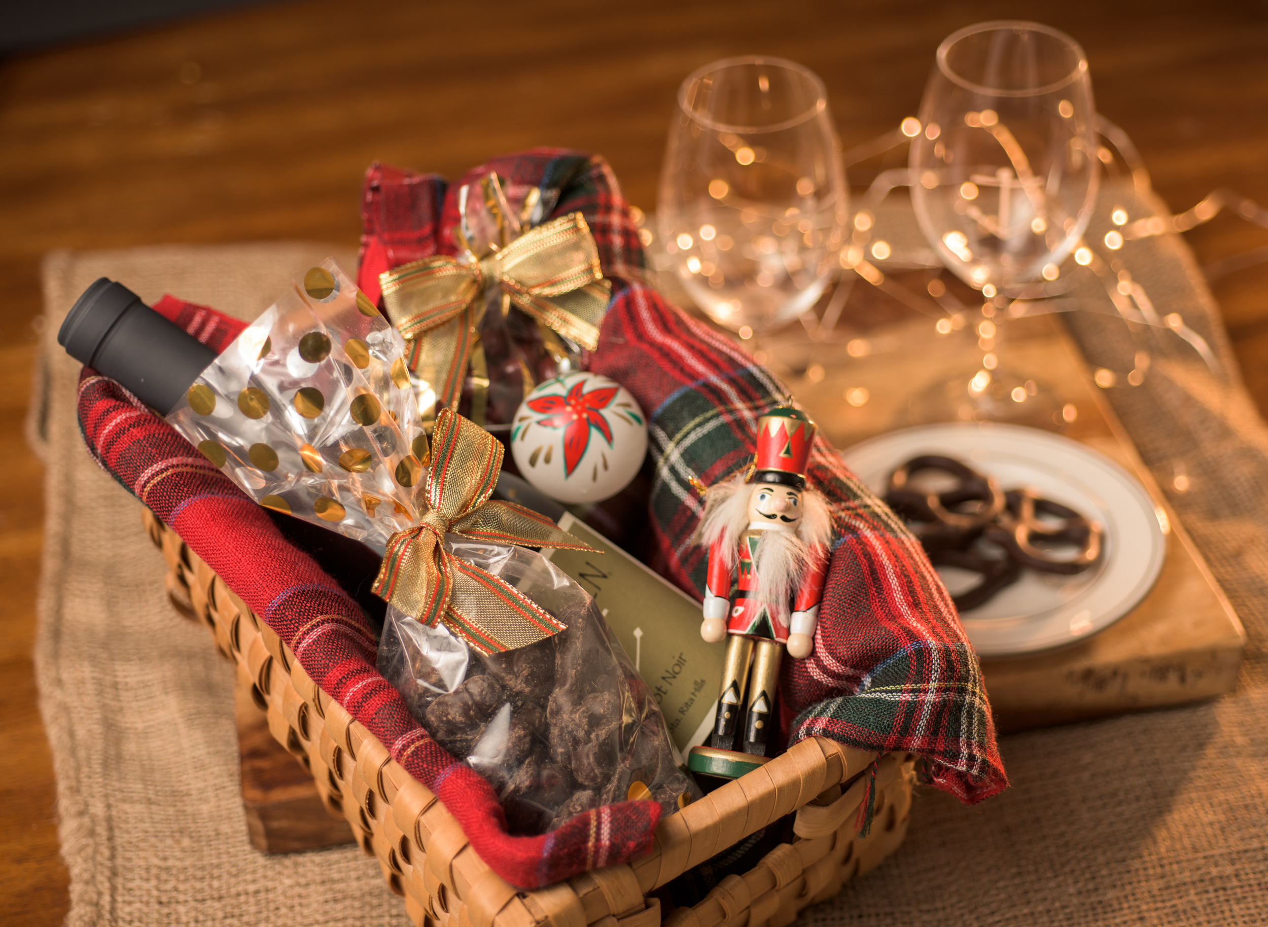 Make the perfect gift basket this holiday. Wine and chocolate? Who can complain?!