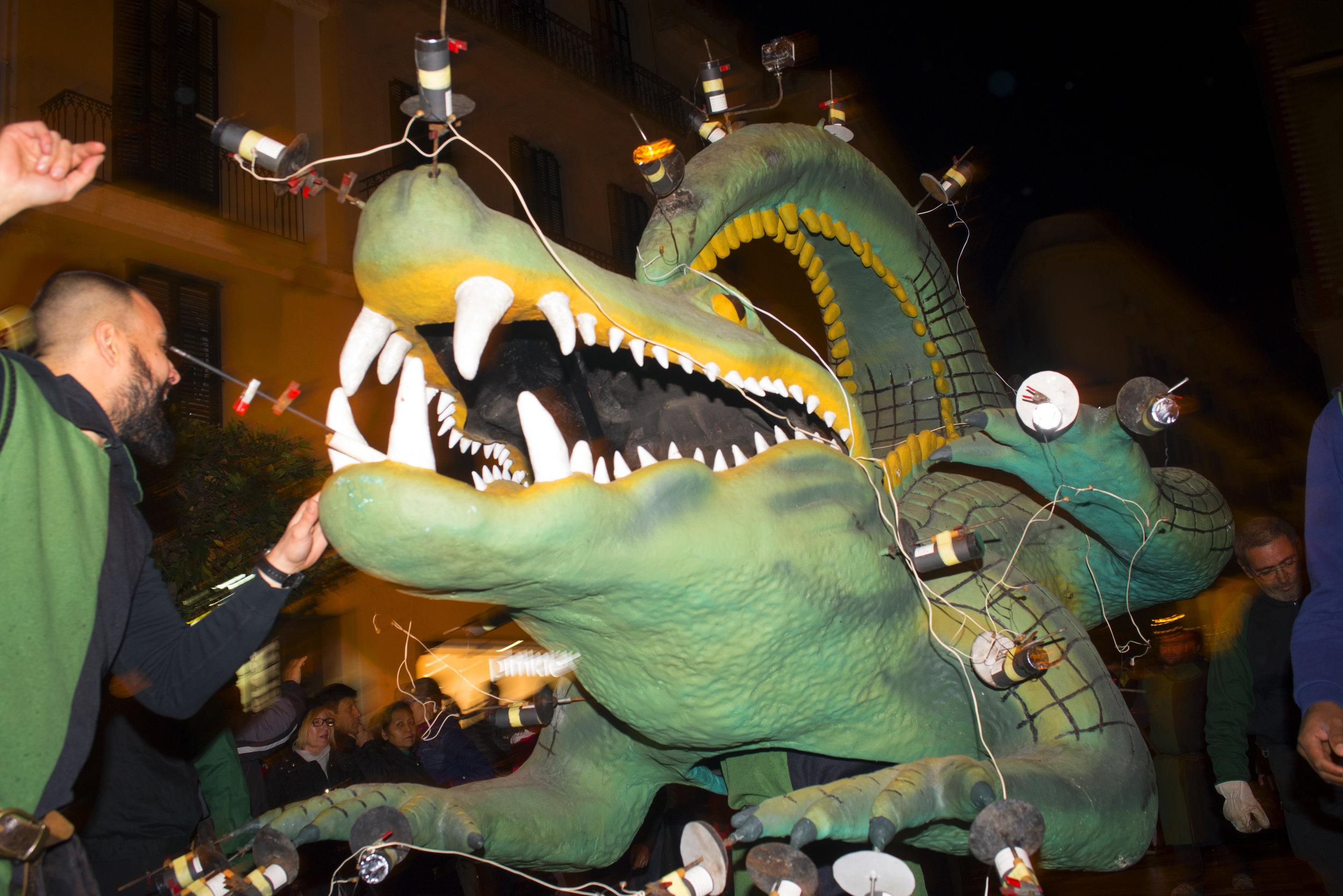 Lighting the dragon at Sant Sebastian Festival at Palma, Mallorca Spain.