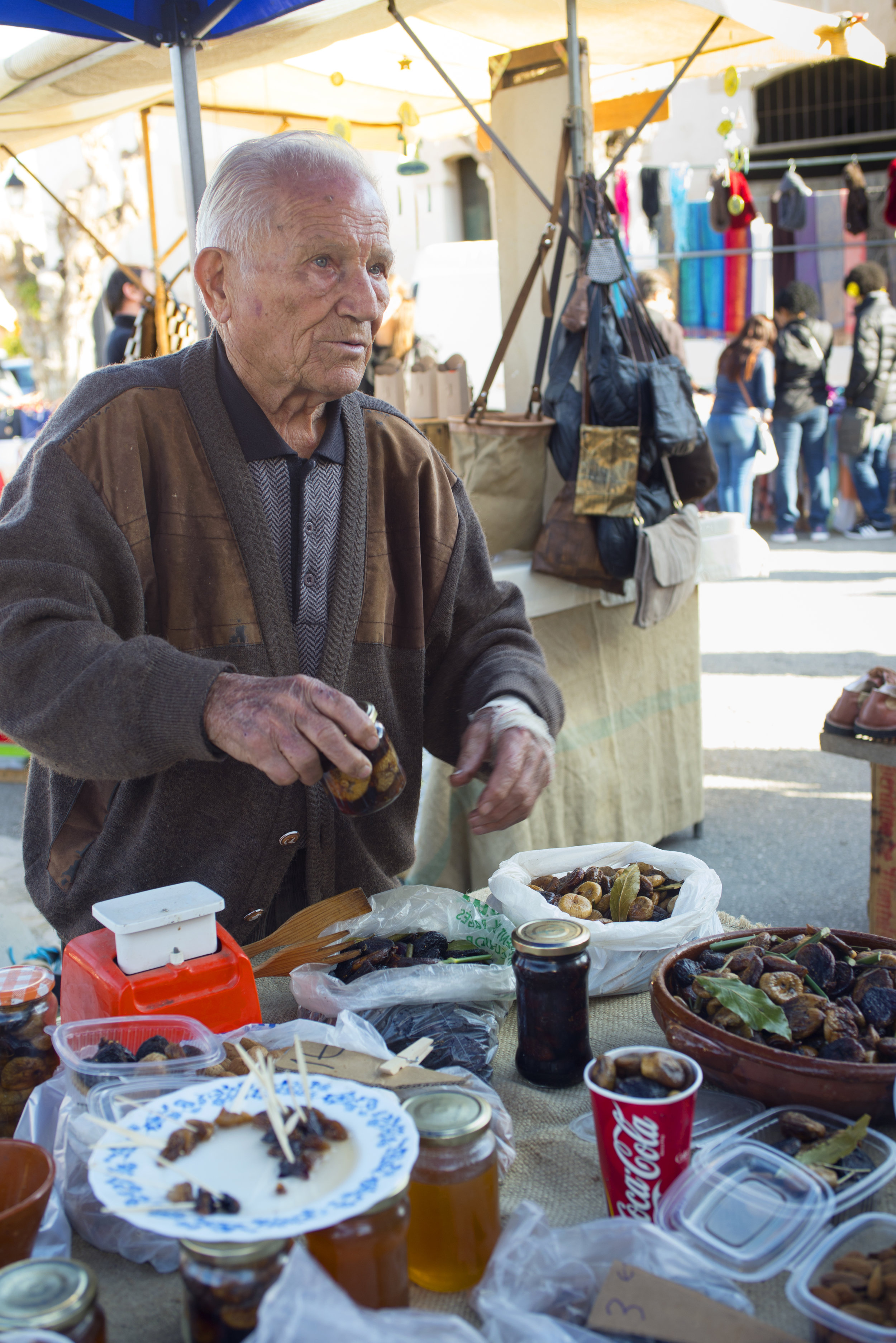 Nuts and dried fruit at Sineu market, Mallorca Spain.