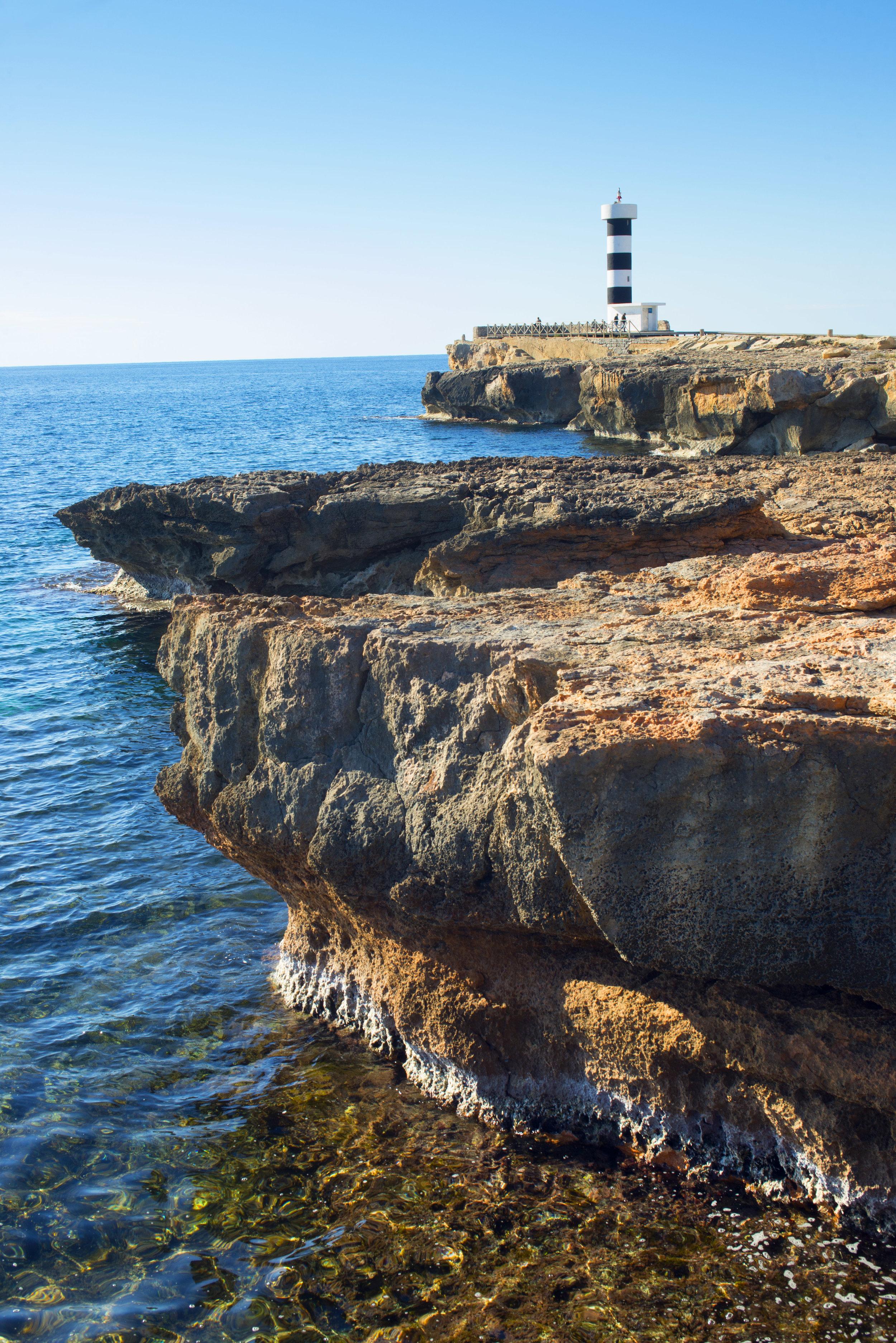 Lighthouse at Ponta de Ses Crest, Mallorca Spain.