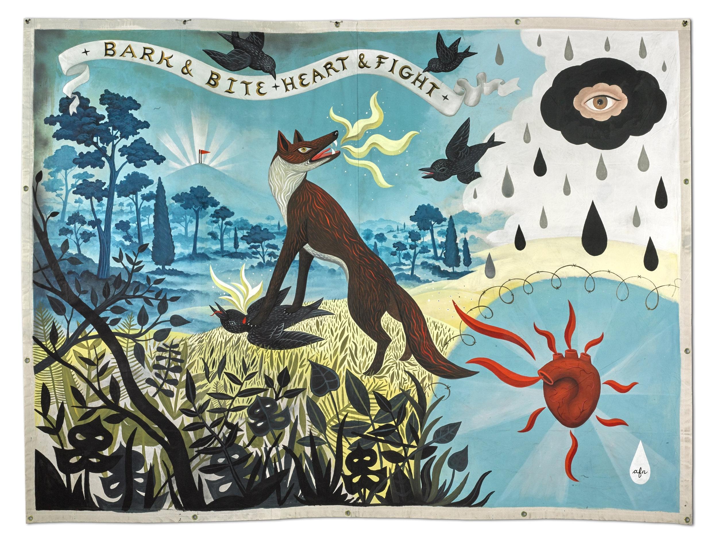 "Bark & Bite, Heart & Fight   by Anne Faith Nicholls, 2017.Approx.105"" x 79"",acrylic on custom-made grommeted canvas"