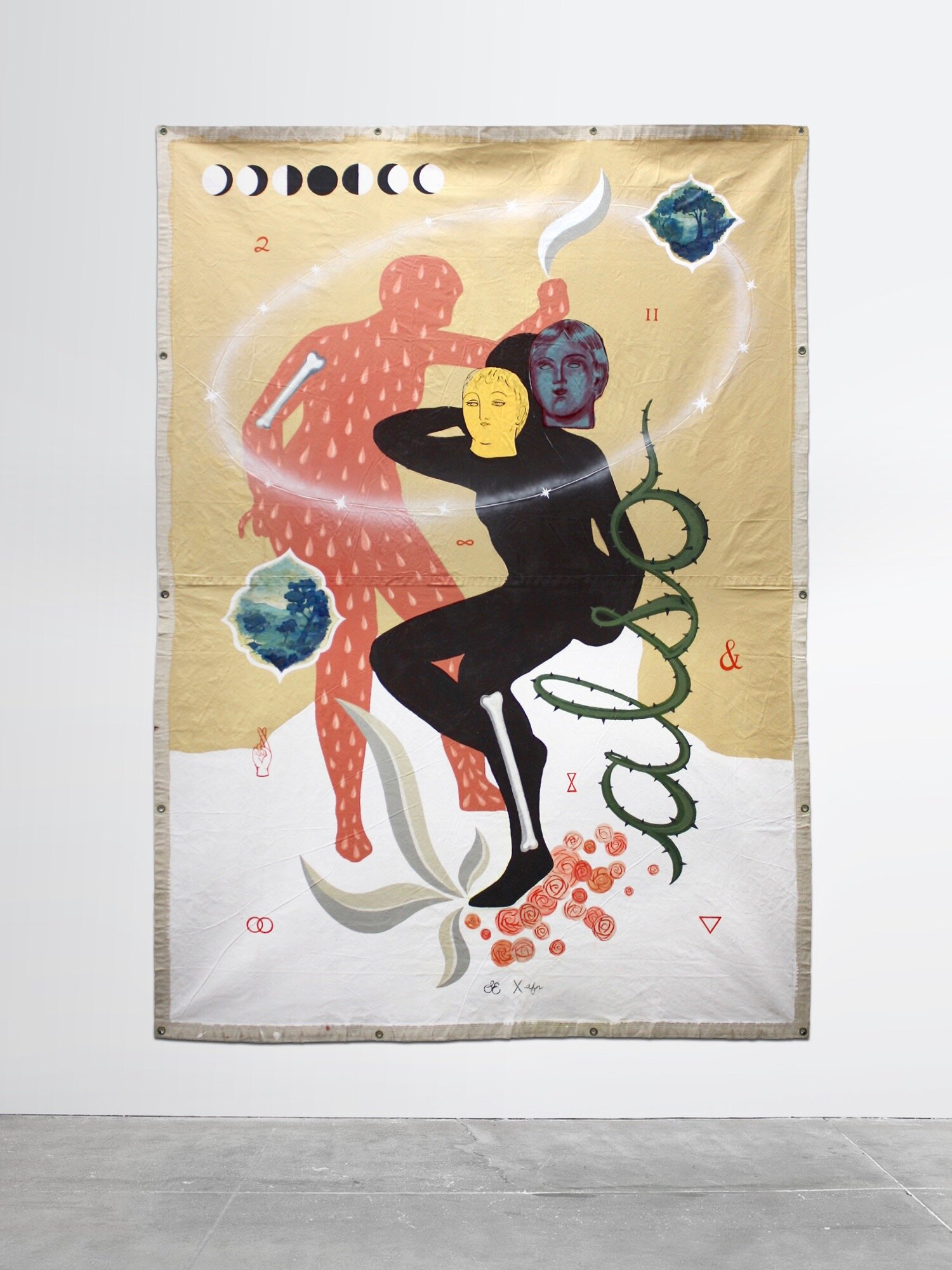 """Also, A Collaborative Painting   by Sofia Enriquez & Anne Faith Nicholls, 2018 Acrylic and enamel on canvas with brass grommets Approx. 8'4"""" x 6"""" Signed by both artists    ALSO   is a collaborative painting about relationships and unity. The impressively large grommeted canvas tarpaulin features layers of signature motifs by two California artists  Sofia Enriques and Anne Faith Nicholls,  who endeavored to come together to create a piece in the name of female camaraderie. The painting's narrative is revealed through symbols placed throughout it's composition, representing collaboration, inclusivity, and universal connection. This rare, large scale collaboration represents the best of both artists and presents a one-of-a-kind combination of their unique styles."""