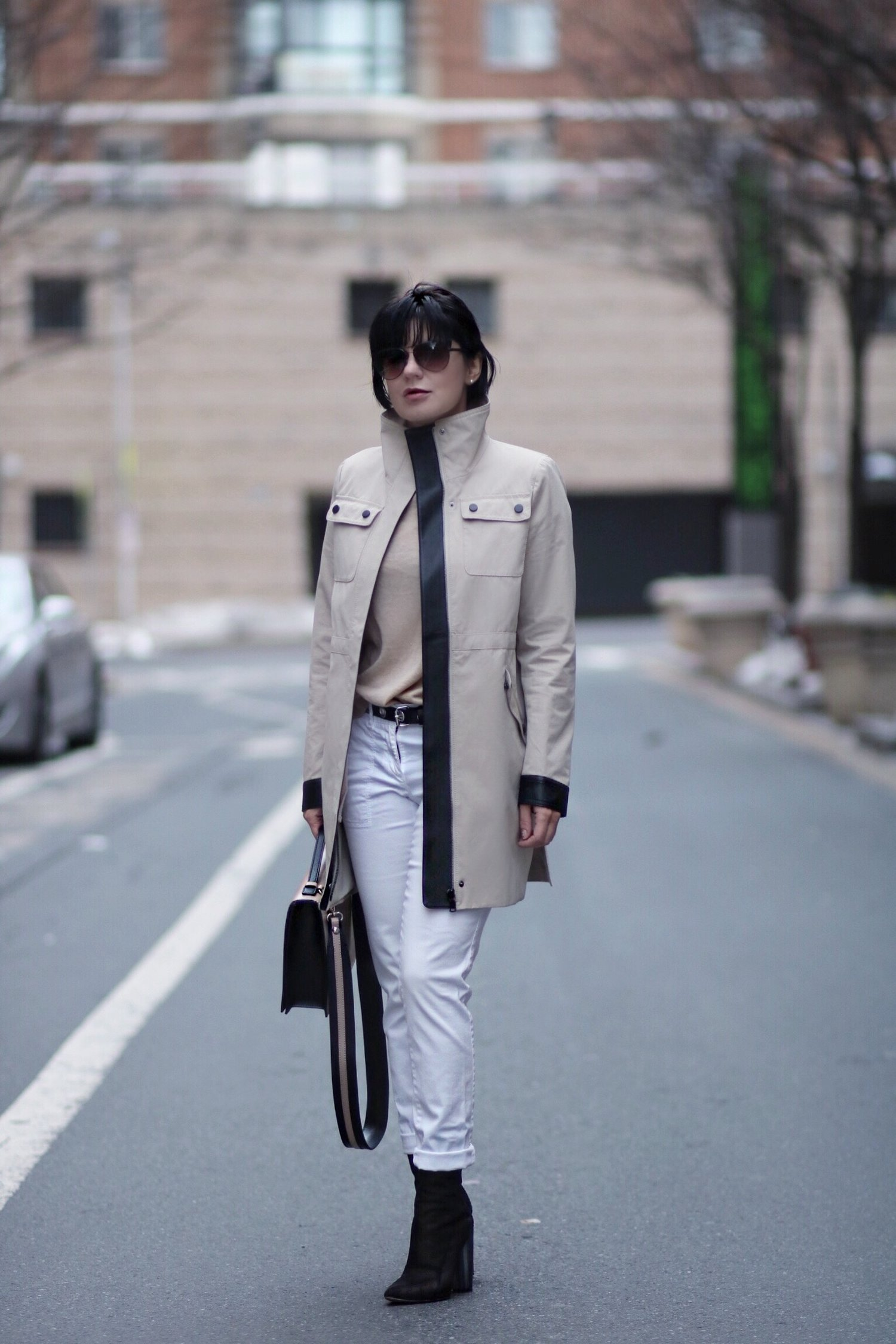 neutral outfit for petites