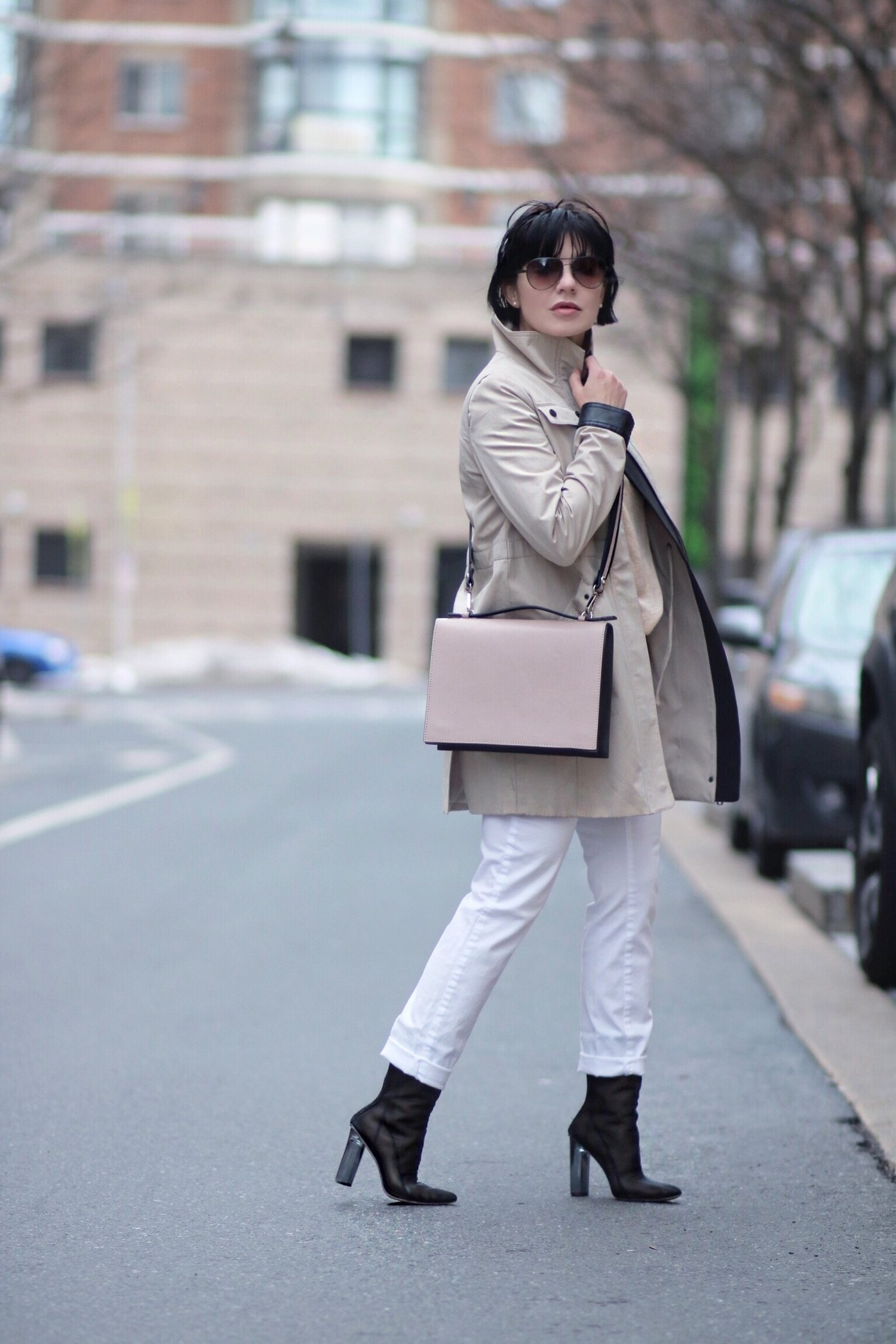 neutral color trench coat