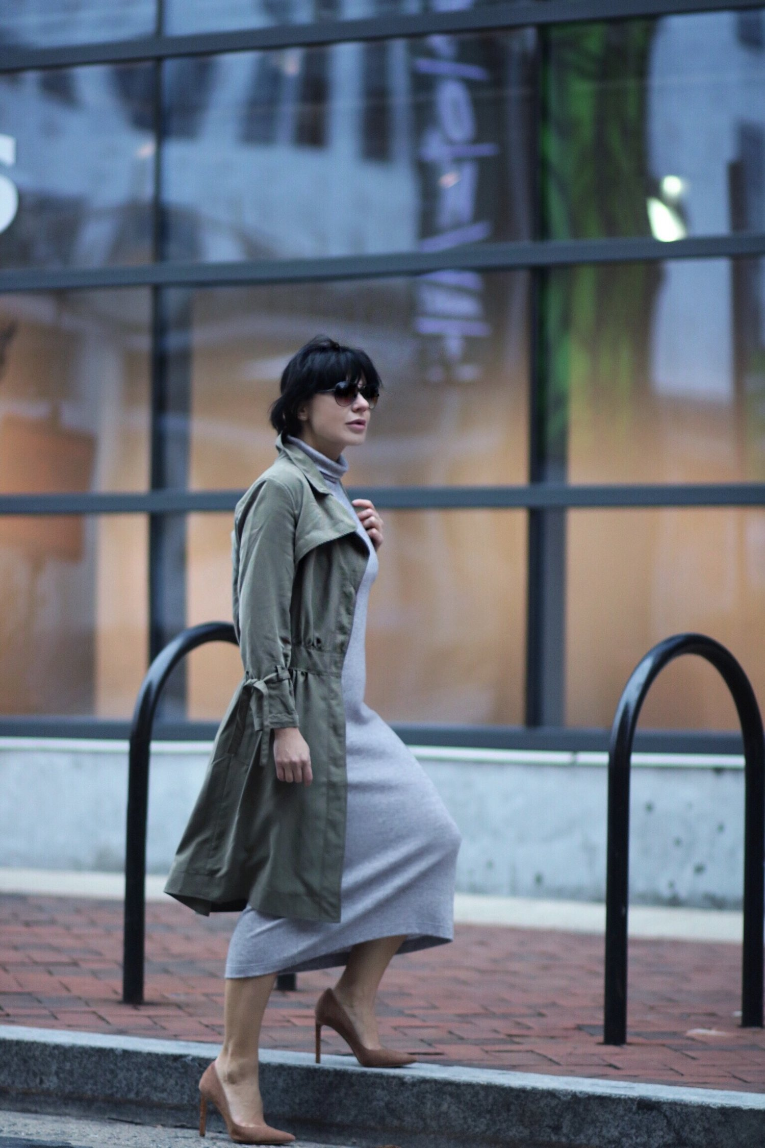 trench dress grey dress outfit petites