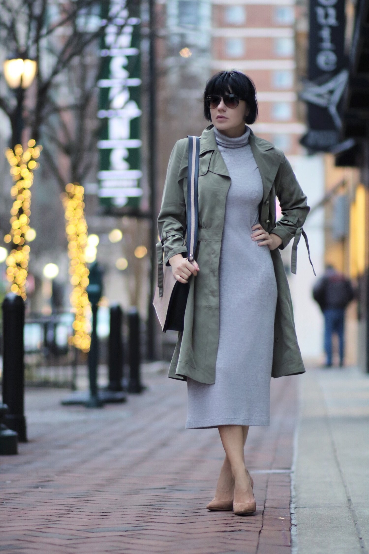 grey knit dress layered trench dress petite outfit